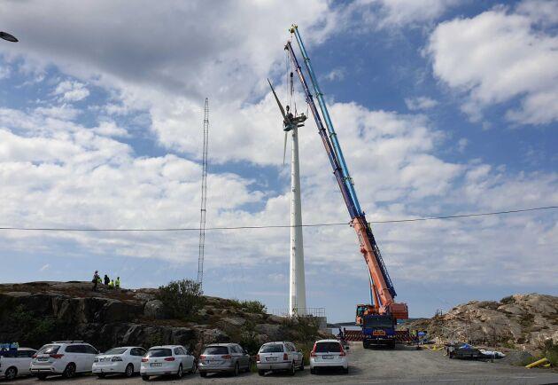 I april stod Modvions första 30 meter höga vindkraftstorn i trä klart på Björkö. Men med EU-stöd siktar företaget nu på över 150 meter höga torn.