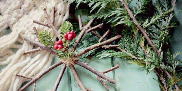 Pynta granen med rustika snöstjärnor