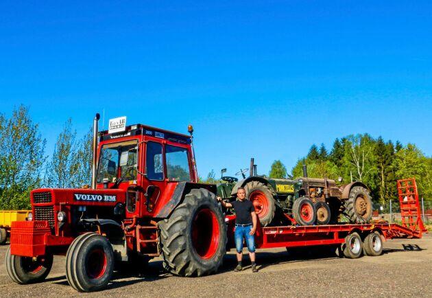 Emils Volvo BM 2650 har varit på traktorträff. På trailern finns en Munktells 25 och en BM 230 Victor