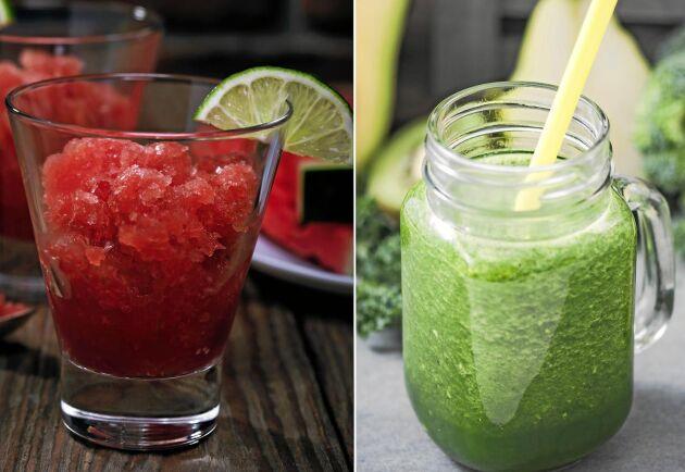 Frukt bär och grönt i svala isdrinkar.